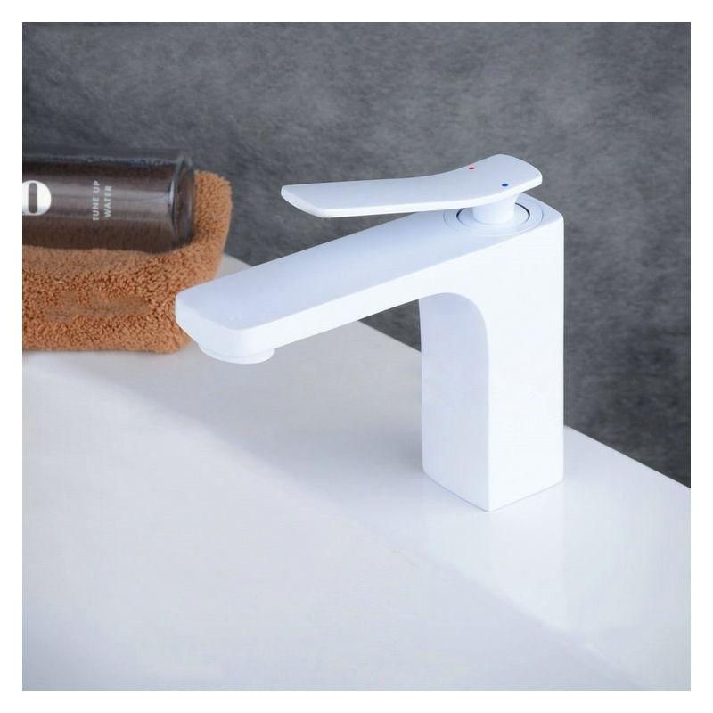 LOOKSHOP Robinet lavabo mitigeur classique en laiton solide Blanc - LOOKSHOP