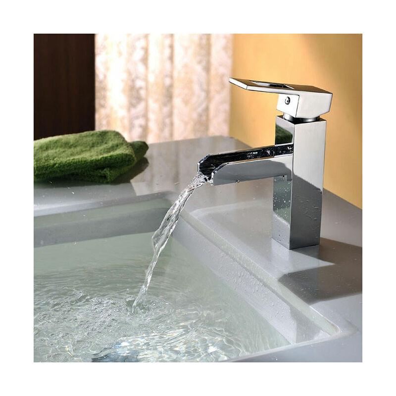KROOS® Robinet lavabo mitigeur moderne avec bec en cascade en laiton solide et