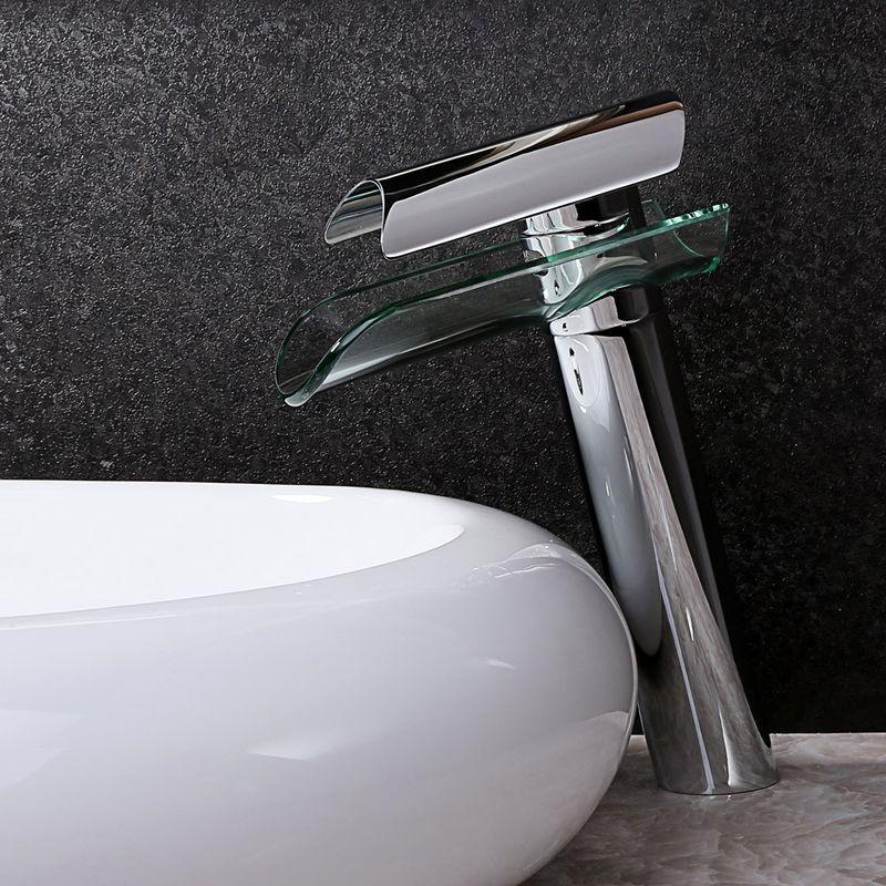 LOOKSHOP Robinet lavabo surélevé contemporain en chromé poli avec bec en verre