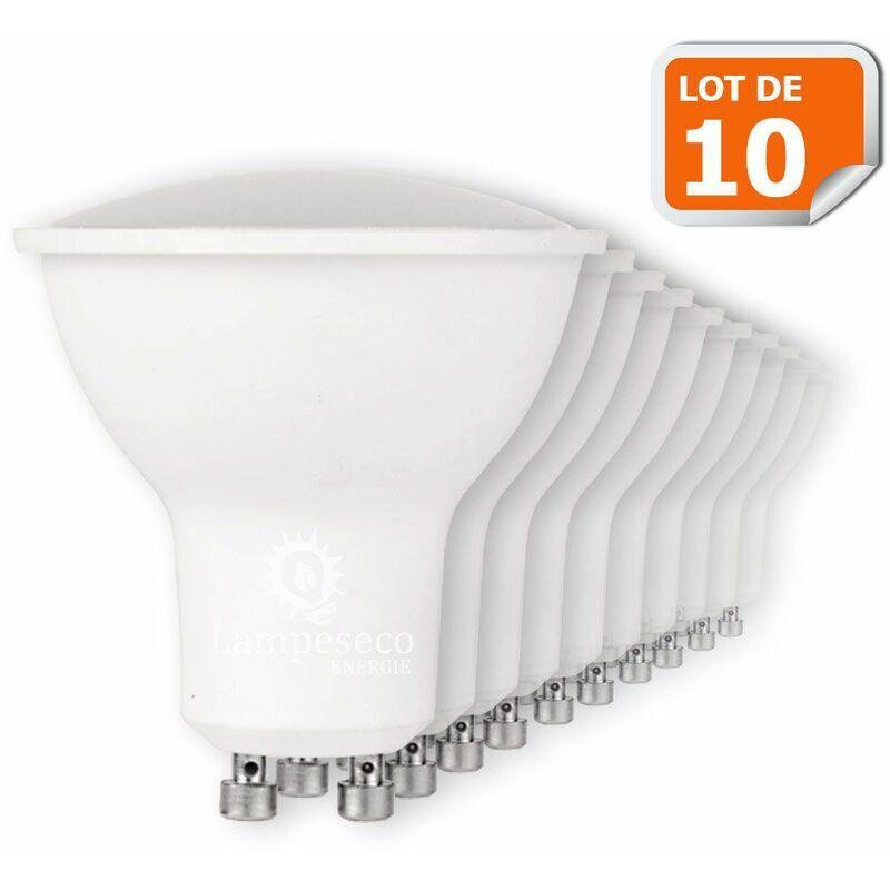 LAMPESECOENERGIE Lot de 10 Ampoules Led GU10 7W Blanc Neutre 4000K eq. 50W Halogène 120°
