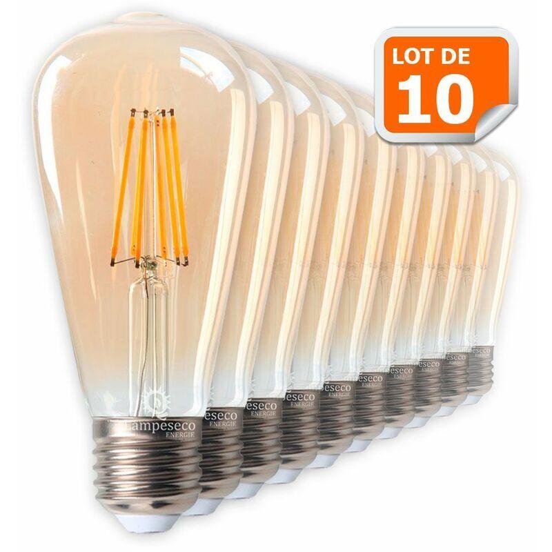 LAMPESECOENERGIE Lot de 10 Ampoules LED Style Vintage Teardrop ST64 doré 8 watt (eq.60