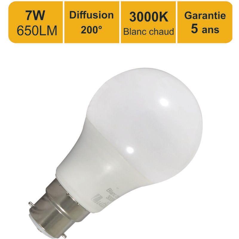 LUTECE-ARC Lot de 12 ampoules LED standard A60 B22 7.5W (equiv. 45W) 650Lm 3000K