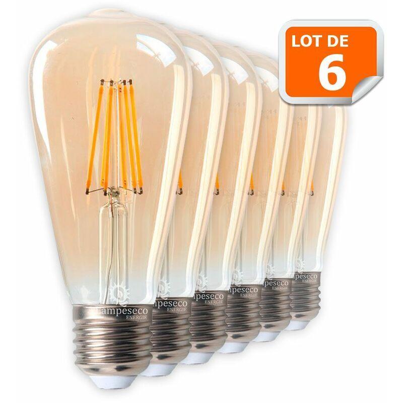 LAMPESECOENERGIE Lot de 6 Ampoules LED Style Vintage Teardrop ST64 doré 8 watt (eq.60