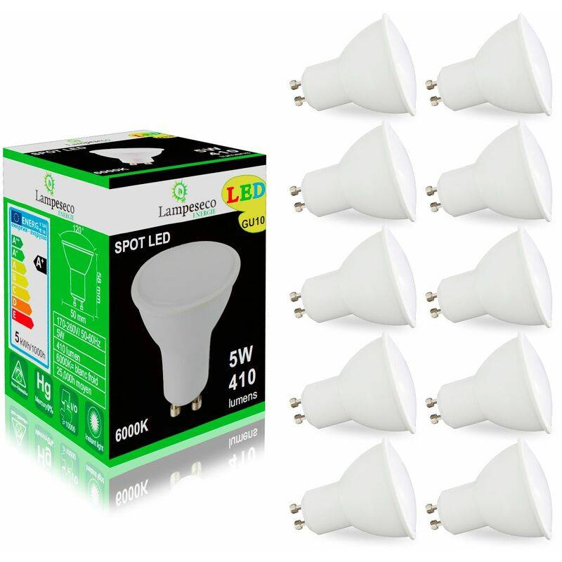 LAMPESECOENERGIE Pack de 10 Ampoules Led GU10 5W eq. 50W Halogène Blanc Froid 120°