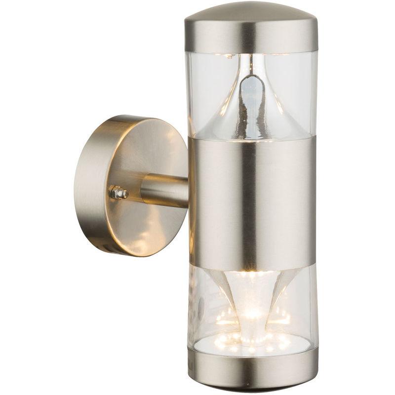 GLOBO 14 Watt LED en acier inoxydable Up Down lumière ronde lampe murale