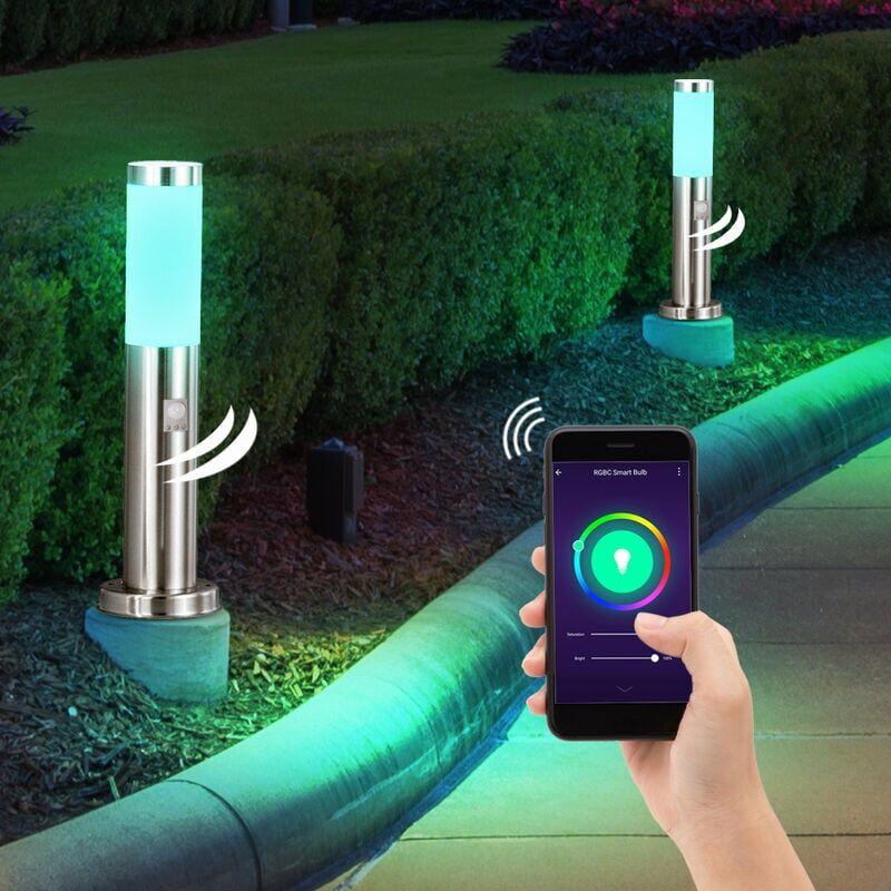 ETC-SHOP Ensemble de 2 lampes sur pied d'extérieur RVB pour maison intelligente