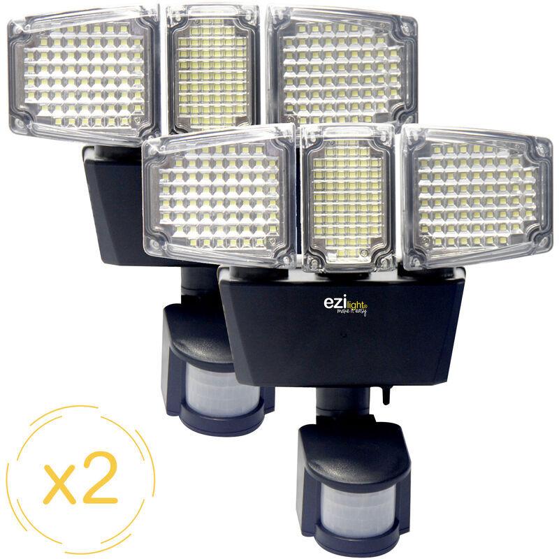 EZILIGHT Projecteur solaire LED ® Solar pro 3 - Pack de 2 lampes - Ezilight