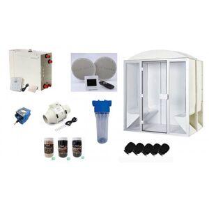 DESINEO Cabine de hammam PRO 6 places complète 190 x 190 x 225 cm en acrylique - Publicité