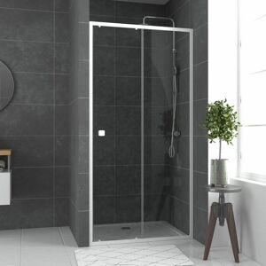 AURLANE Paroi porte de douche Coulissante blanc 100x185cm - extensible - WHITY - Publicité