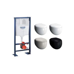 VITRA Pack WC suspendu sans bride Memoria + abattant + plaque + bâti Grohe, - Publicité