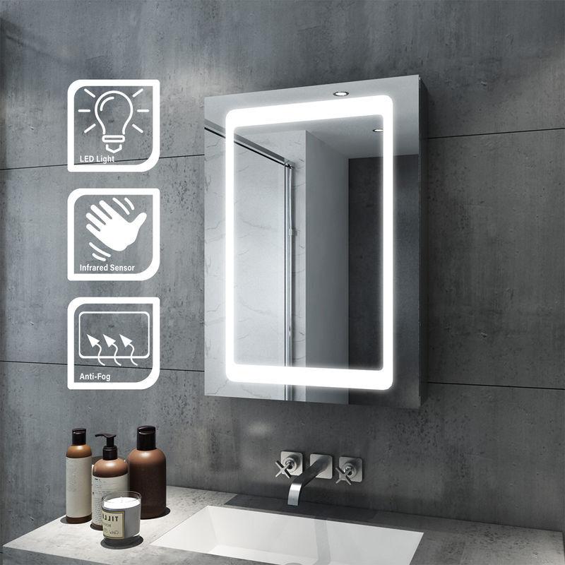 SIRHONA 43x 69cm Lumineux LED Salle De Bains Miroir Coulissant Cabinet En Acier