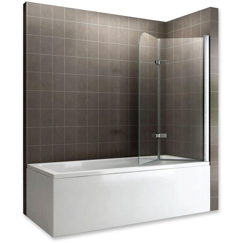 SANIVERRE BALY Pare-baignoire rabattable en verre 6 mm 110 x 140 cm transparent