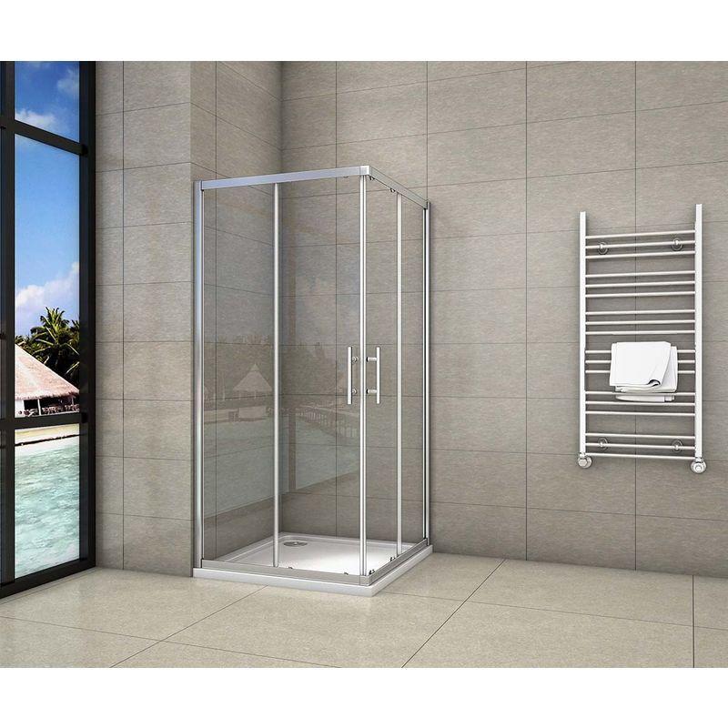 AICA SANITAIRE Cabine de douche 80x80x195cm en 6mm verre anticalcaire porte de douche