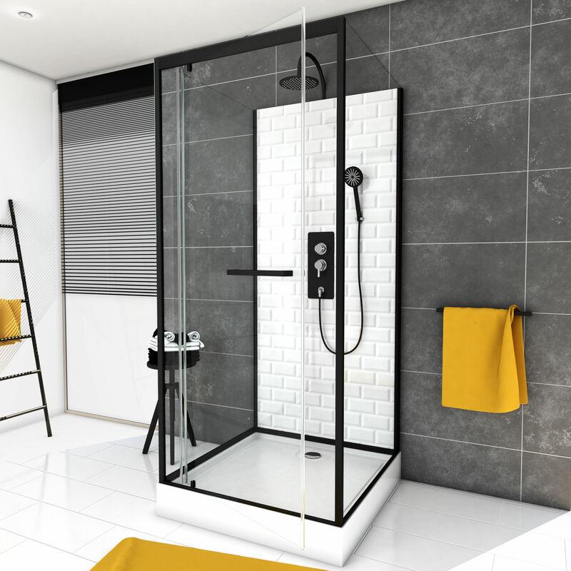 Aurlane - Cabine de douche carrée 80x80x230cm à motif carreaux de métro
