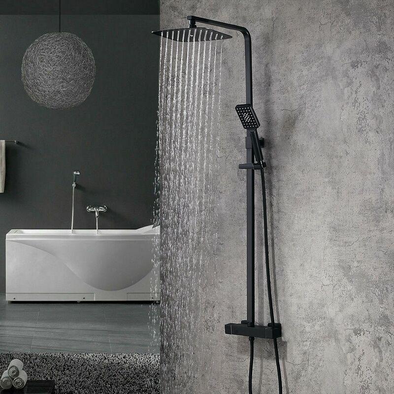 Kroos - Colonne de douche thermostatique carré moderne - Noir