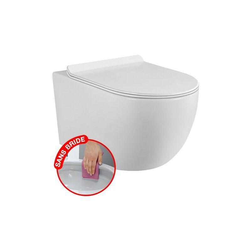CORIBI CONFORT - WC suspendu sans bride avec fixations invisibles + abattant