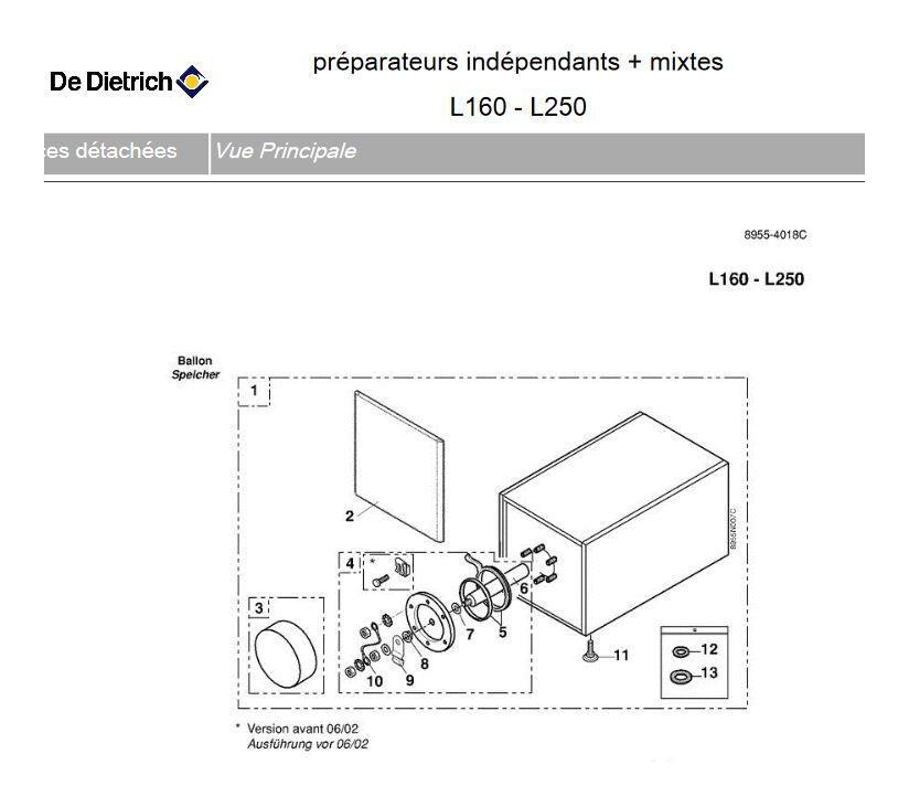 De Dietrich BH74 - Préparateur d'eau chaude sanitaire complet L 250