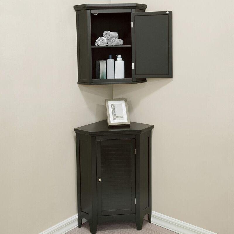 Elegant Home - Ensemble meubles d'angle salle de bains 3 pièces placard