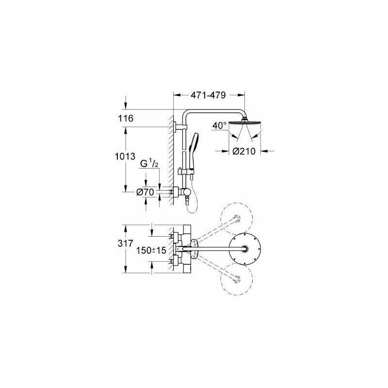 GROHE Rainshower System Colonne de douche avec mitigeur thermostatique