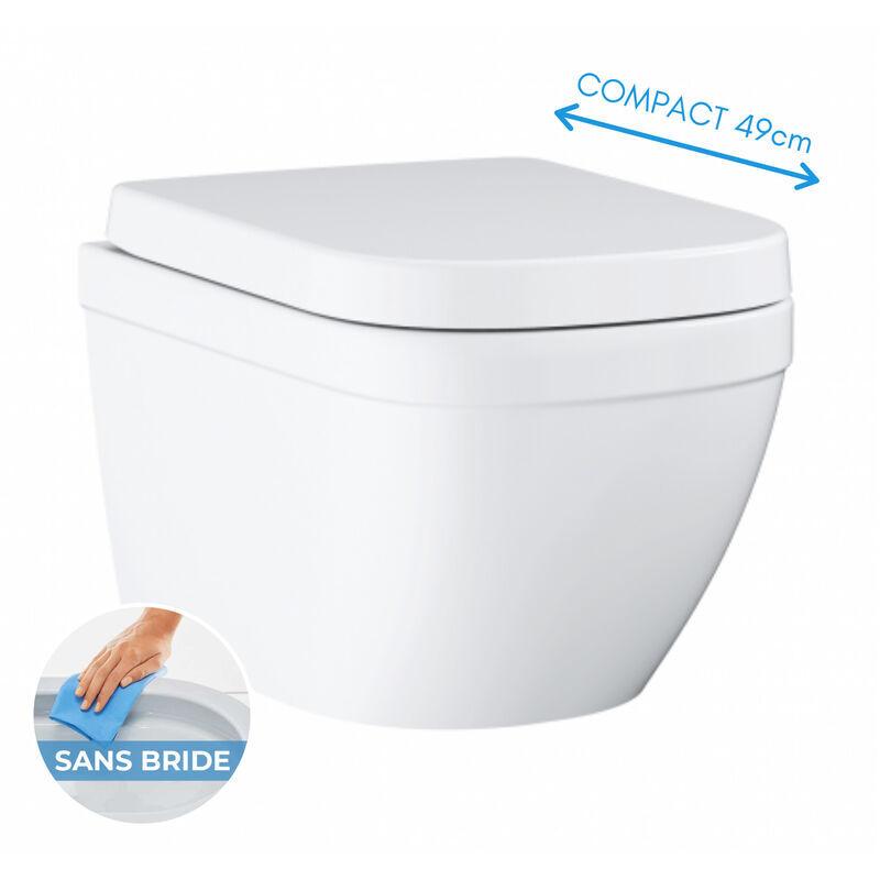 Grohe Euro ceramic WC suspendu compact sans bride avec abattant frein