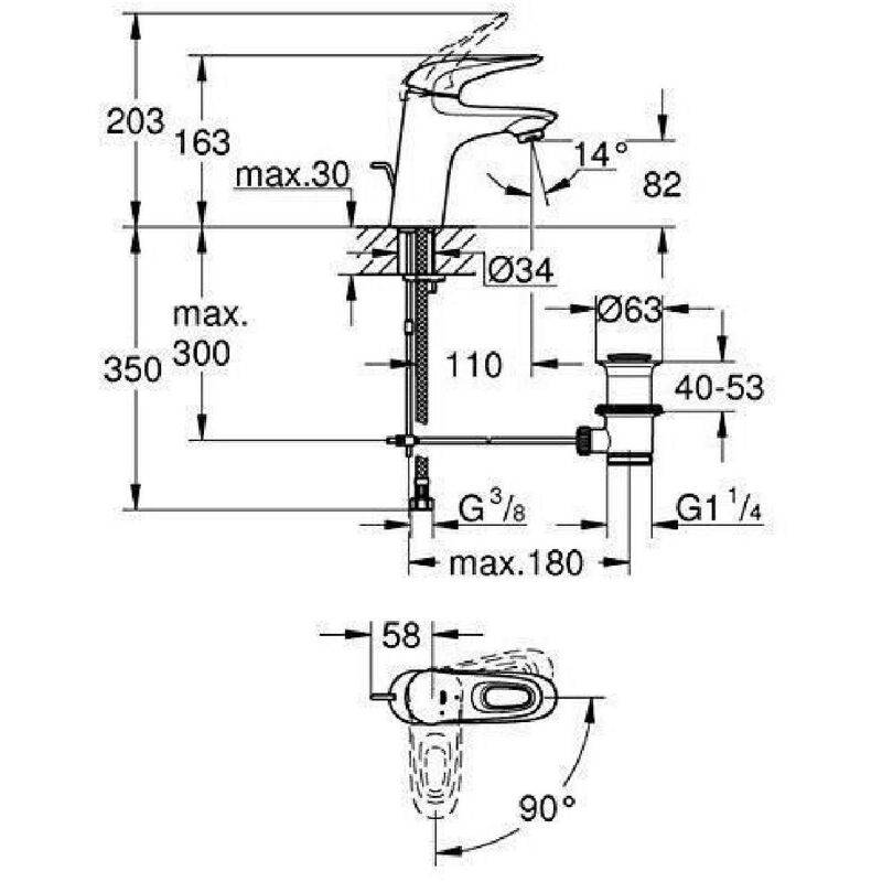 GROHE Mitigeur lavabo Taille S Eurostyle 23374LS3