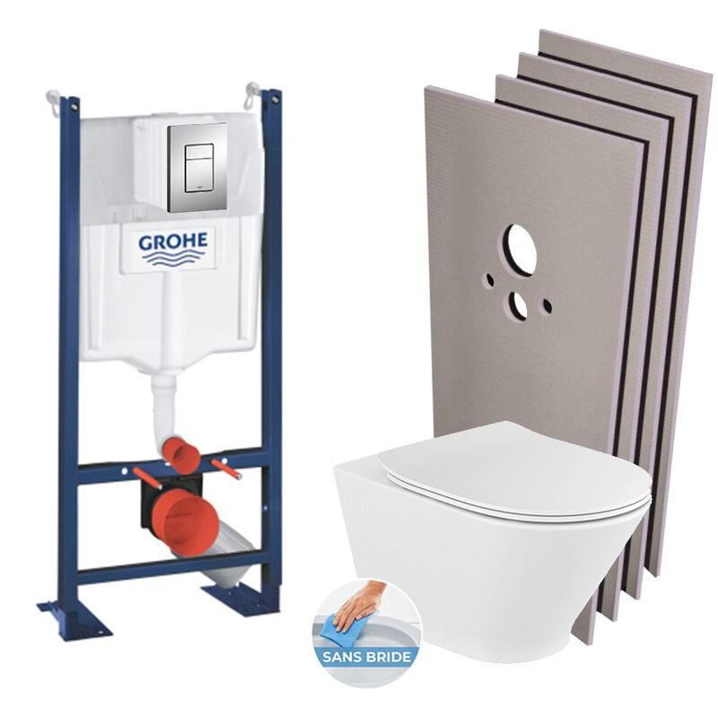 Grohe Pack WC Bâti autoportant + WC Roca The Gap sans bride fixations