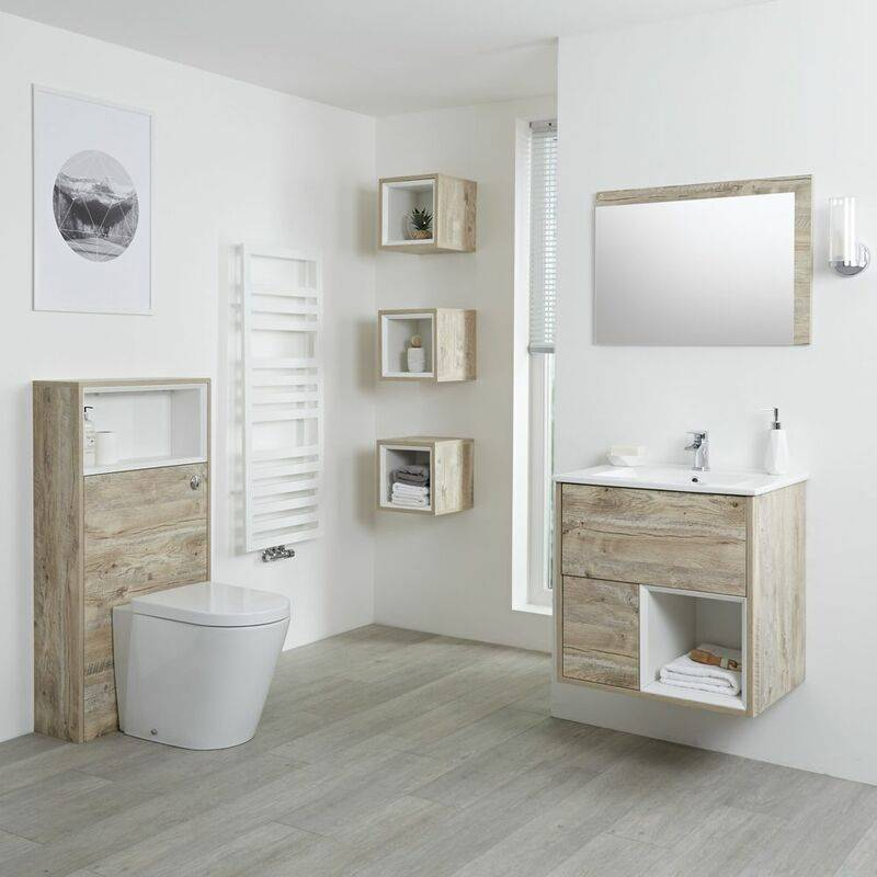 HUDSON REED Hoxton - Set Moderne Chêne Clair Avec Meuble Lavabo LED et Meuble WC