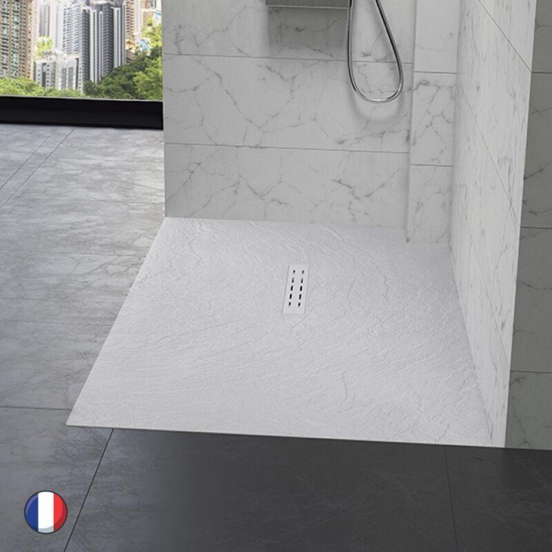 KINEDO Receveur douche aspect pierre Kinestone, 140 x 90, blanc - Blanc