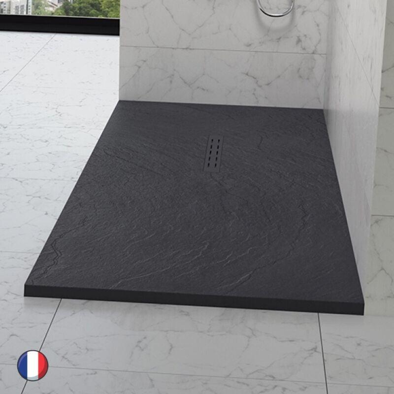 KINEDO Receveur douche aspect pierre Kinestone, 140 x 90, gris anthracite