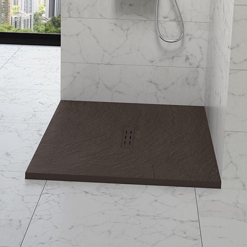 Kinedo - Receveur douche aspect pierre Kinestone, 160 x 90, chocolat