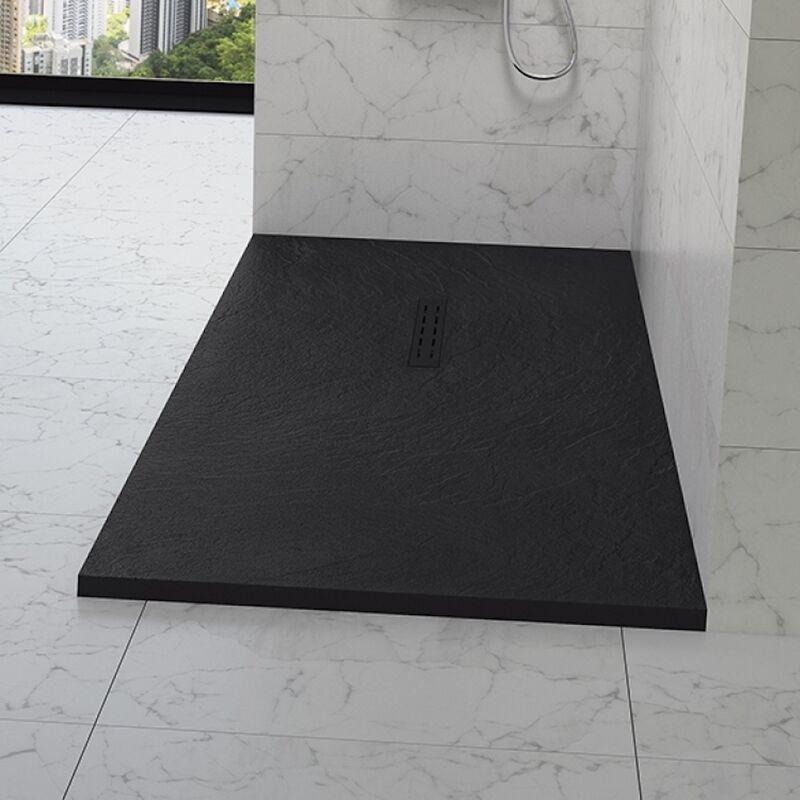 KINEDO Receveur douche aspect pierre Kinestone, 160 x 90, noir - Kinedo