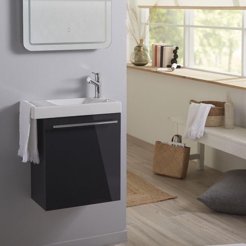 Planetebain Lave mains anthracite brillant pour wc avec robinet eau froide à droite