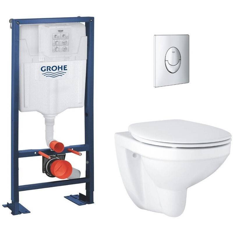 GROHE Lot wc suspendu Grohe Bau Ceramic bâti support Grohe Rapid SL et plaque