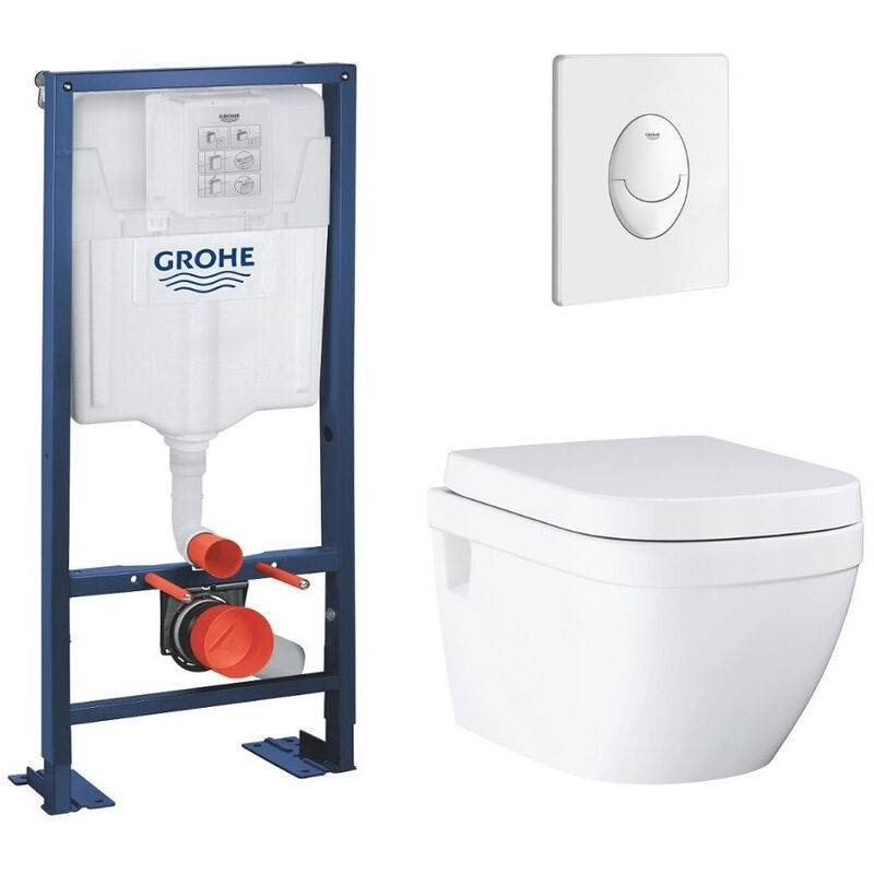 GROHE Lot wc suspendu sans bride Grohe Euro Ceramic bâti support Grohe Rapid