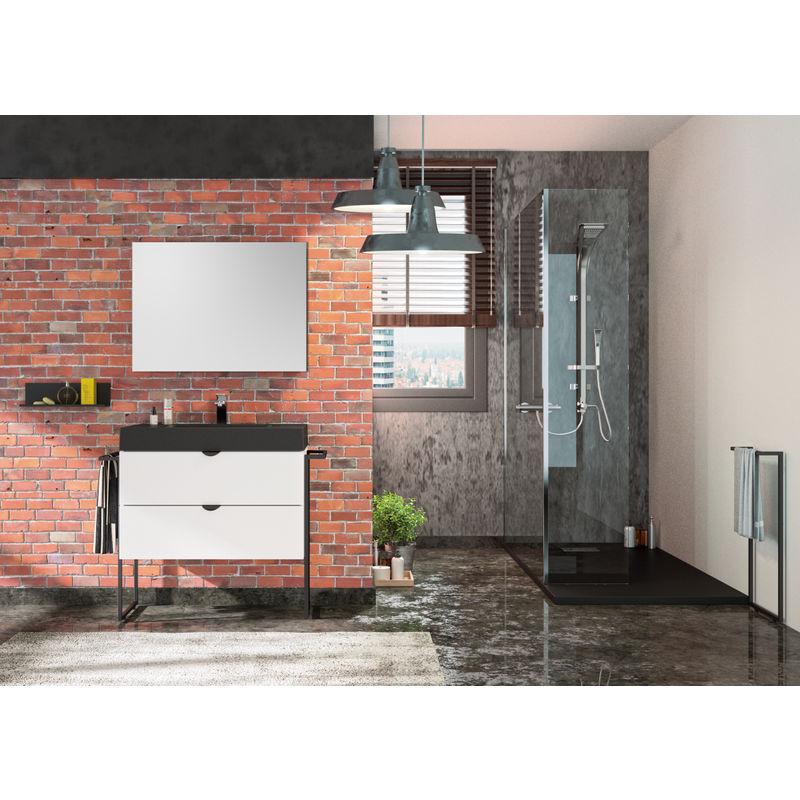 ALLIBERT Meuble sous vasque 80 cm Faktory blanc mat + plan de toilette noir mat