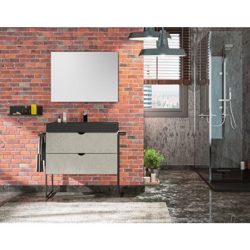 ALLIBERT Meuble sous vasque 80 cm Faktory béton minéral + plan de toilette noir