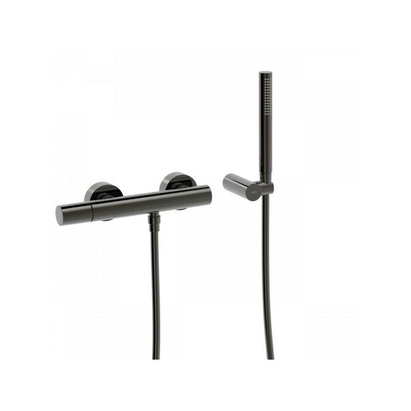 TRES Mitigeur douche avec douchette et flexible Black Metal STUDY COLORS