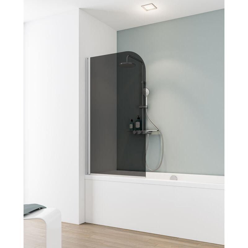 Schulte - Pare-baignoire rabattable, 80 x 140 cm, verre 5 mm, paroi de