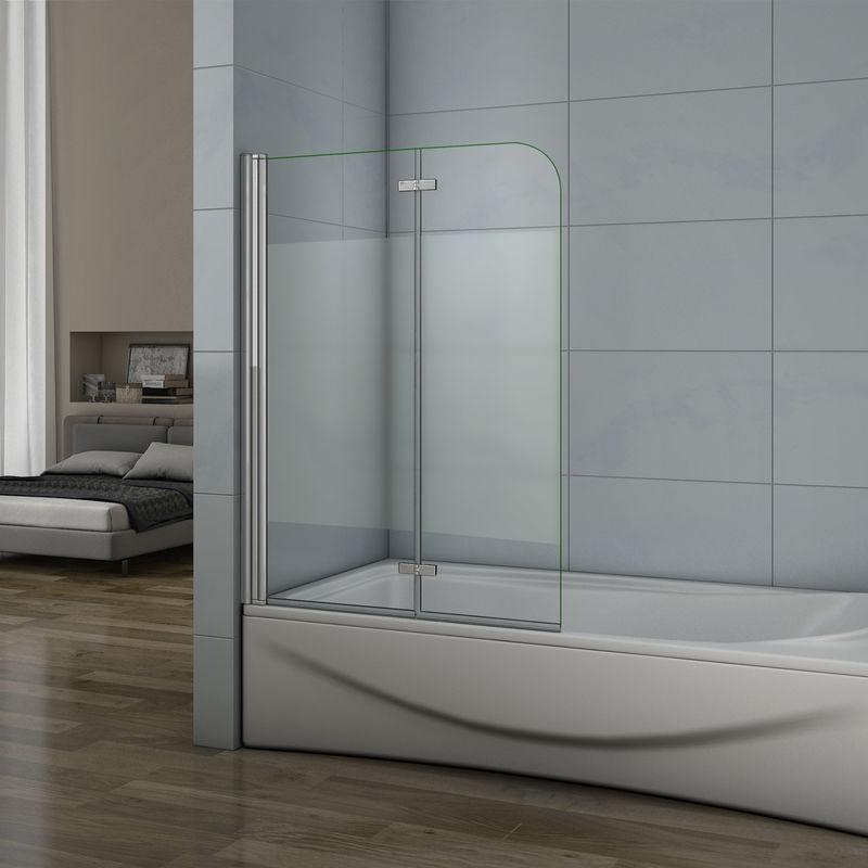 AICA SANITAIRE Pare baignoire 90x140cm verre anticalcaire et sablé au central écran de