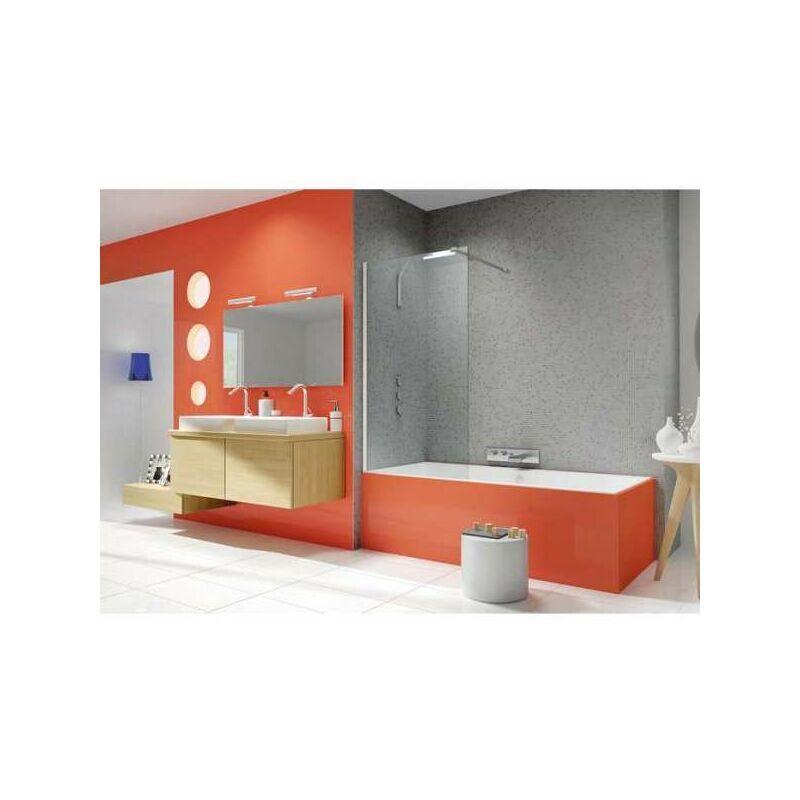 KINEDO Pare-baignoire fixe verre transparent - 1 ventail - 140 x 80 cm - Ibiza