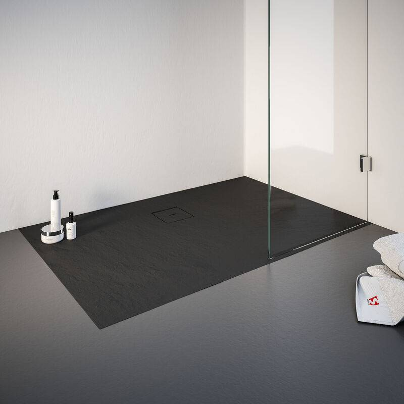 SCHULTE Receveur de douche de plain-pied 90 x 140 cm en résine minérale,