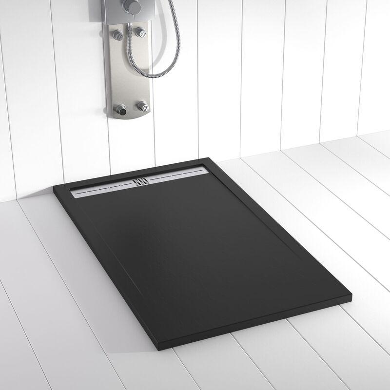 SHOWER ONLINE Receveur de douche Résine FLOW Noir - 160x90 cm - SHOWER ONLINE