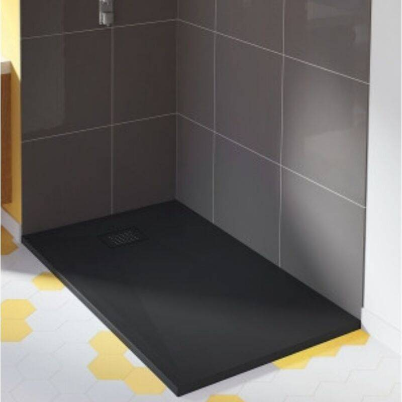 KINEDO Receveur douche extra plat Kinesurf+, 90 x 90, noir, bonde centree sur