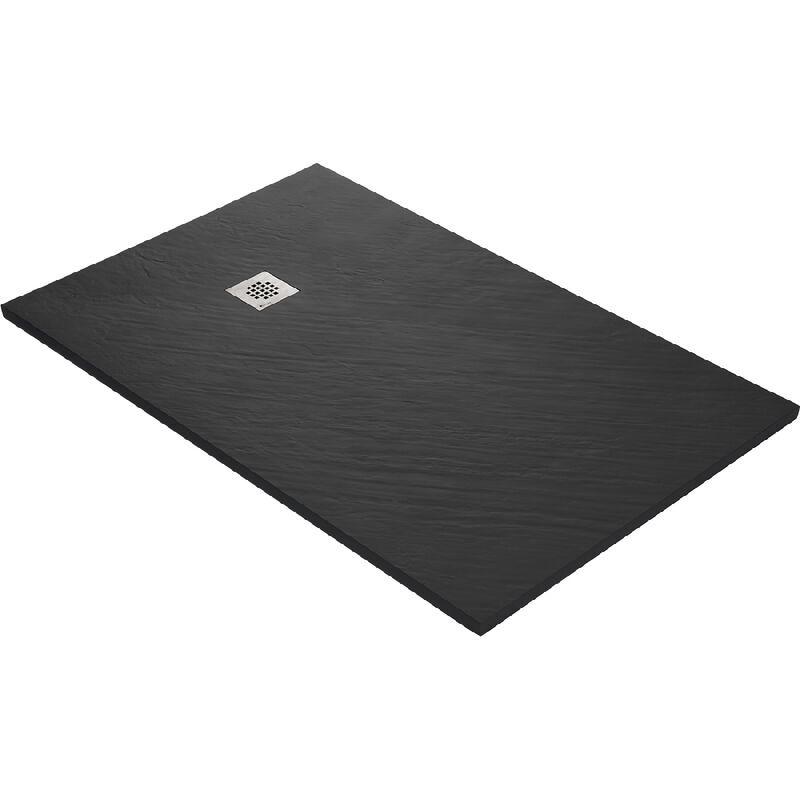 U-TILE Receveur de douche en résine imitation pierre 160 x 90 cm noir + natte