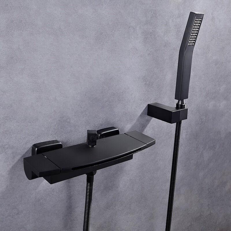 KROOS® Robinet de baignoire encastré contemporain avec douchette Noir - KROOS®