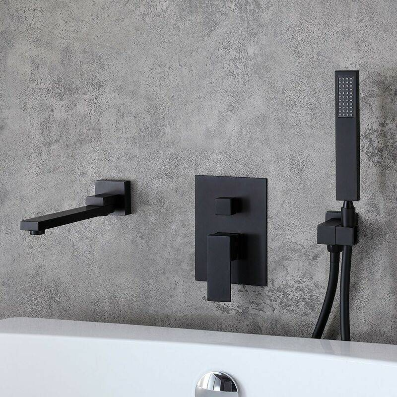 KROOS® Robinet de baignoire encastré moderne avec douchette en laiton solide