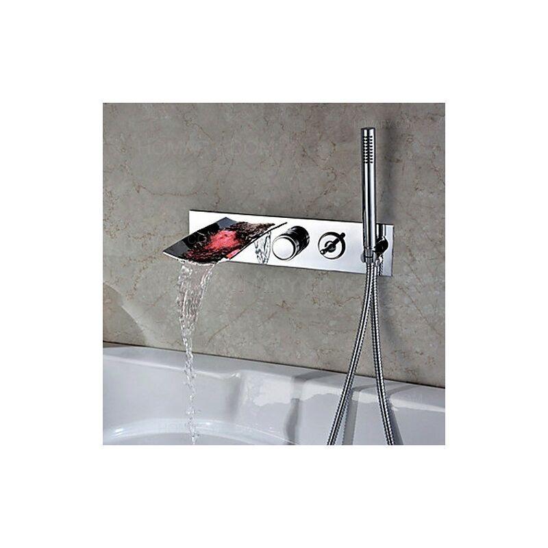 LOOKSHOP Robinet de baignoire encastré sophistiqué avec lumière LED Chromé