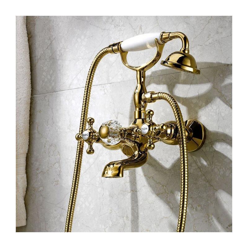 KROOS® Robinet de baignoire mural classique en chrome poli Or - KROOS®