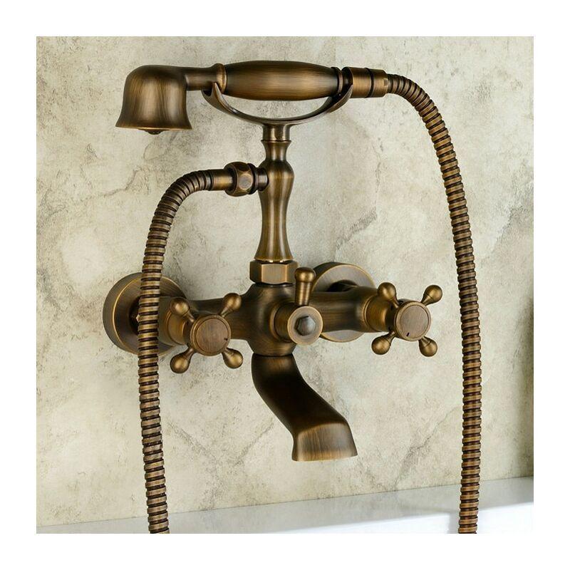 LOOKSHOP Robinet de baignoire mural style vintage en laiton antique - LOOKSHOP