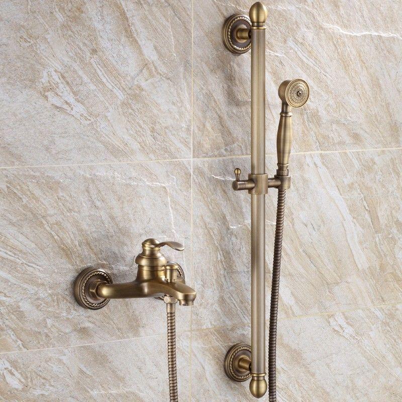 LOOKSHOP Robinet de baignoire mural style vintage en laiton solide Laiton